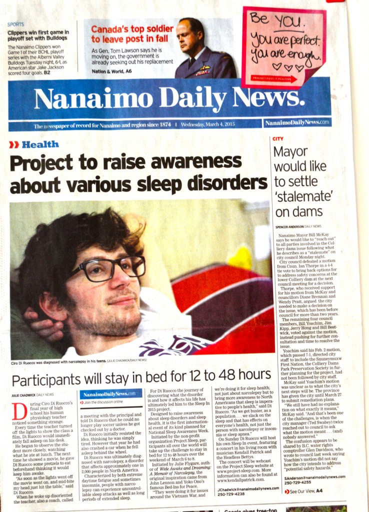 Front Page of the Nanaimo Daily News